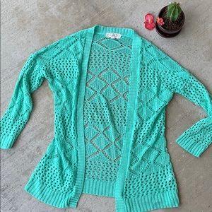 Teal Pink Rose Crochet Cardigan, juniors medium